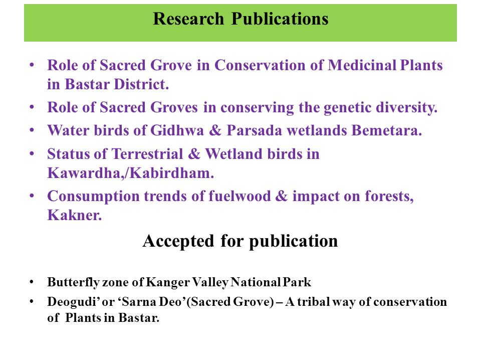 Research Publications Accepted for publication
