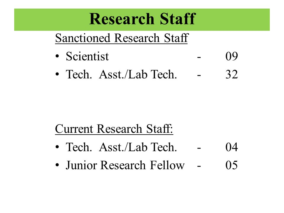 Research Staff Sanctioned Research Staff Scientist - 09