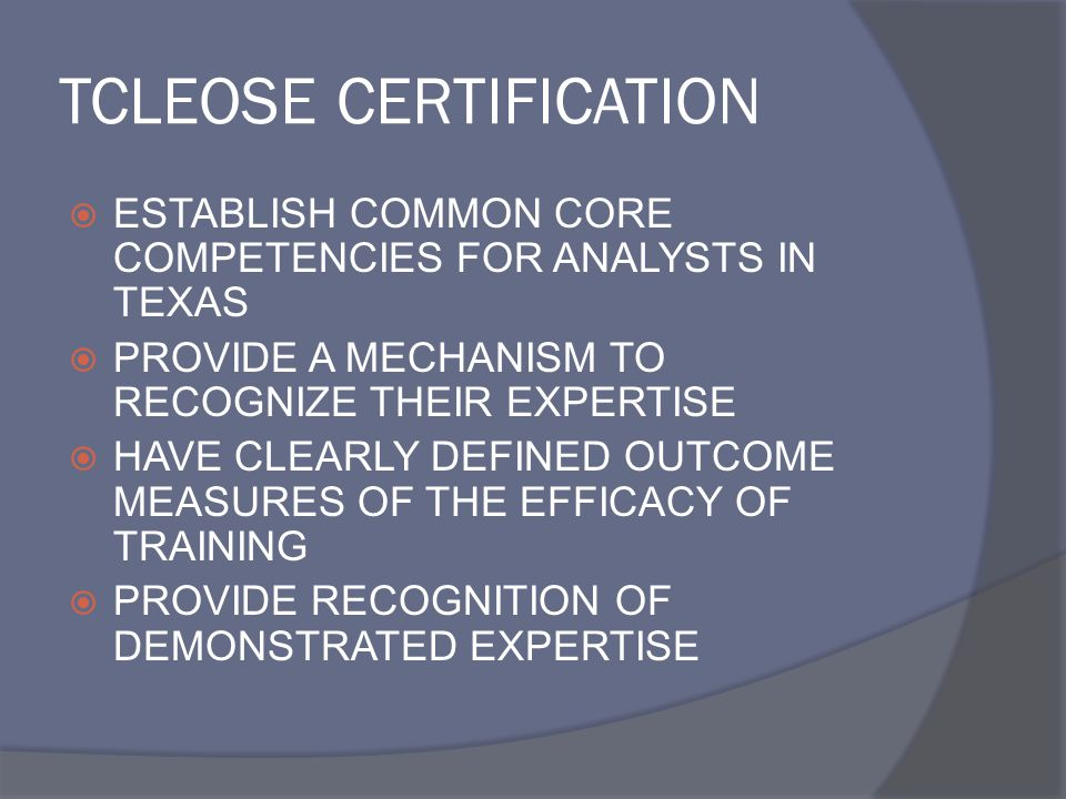 TCLEOSE CERTIFICATION