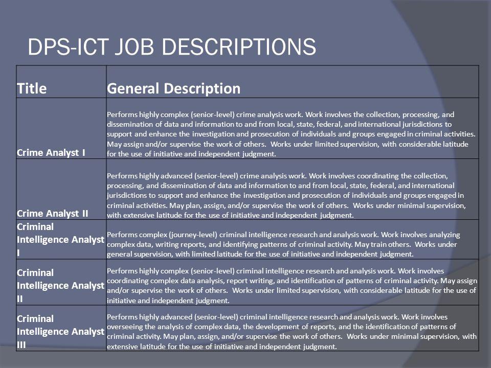 Dps-ict job descriptions