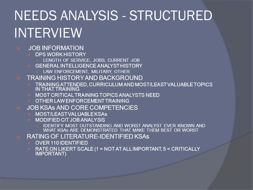 NEEDS ANALYSIS - STRUCTURED INTERVIEW