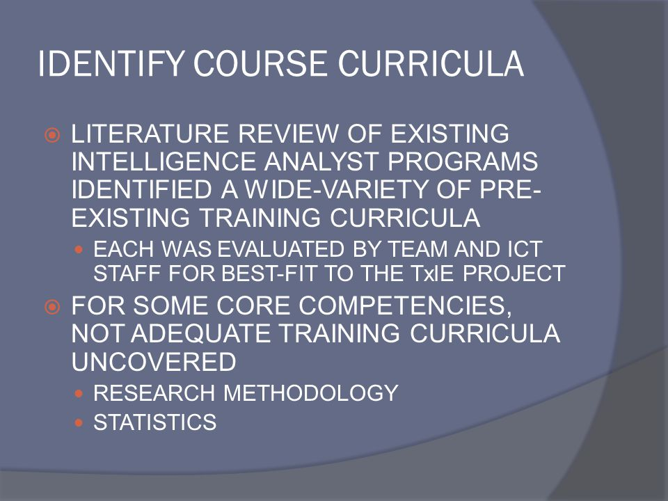 IDENTIFY COURSE CURRICULA