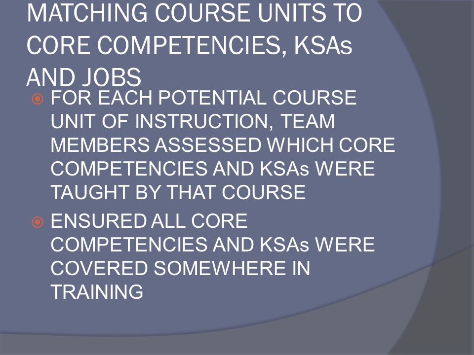 MATCHING COURSE UNITS TO CORE COMPETENCIES, KSAs AND JOBS