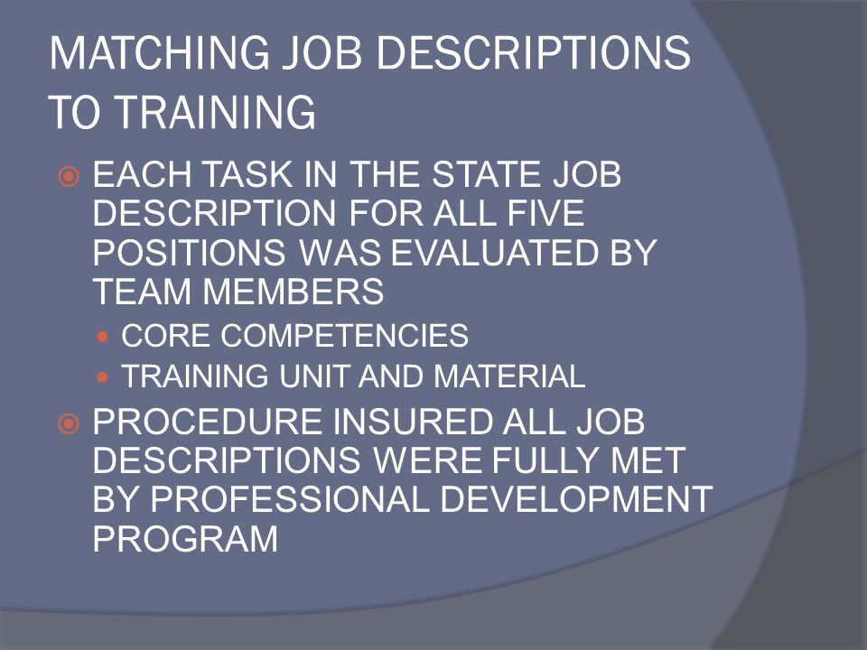 MATCHING JOB DESCRIPTIONS TO TRAINING