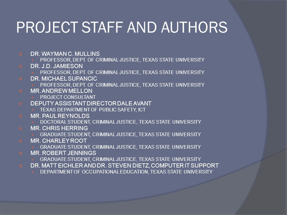 PROJECT STAFF AND AUTHORS