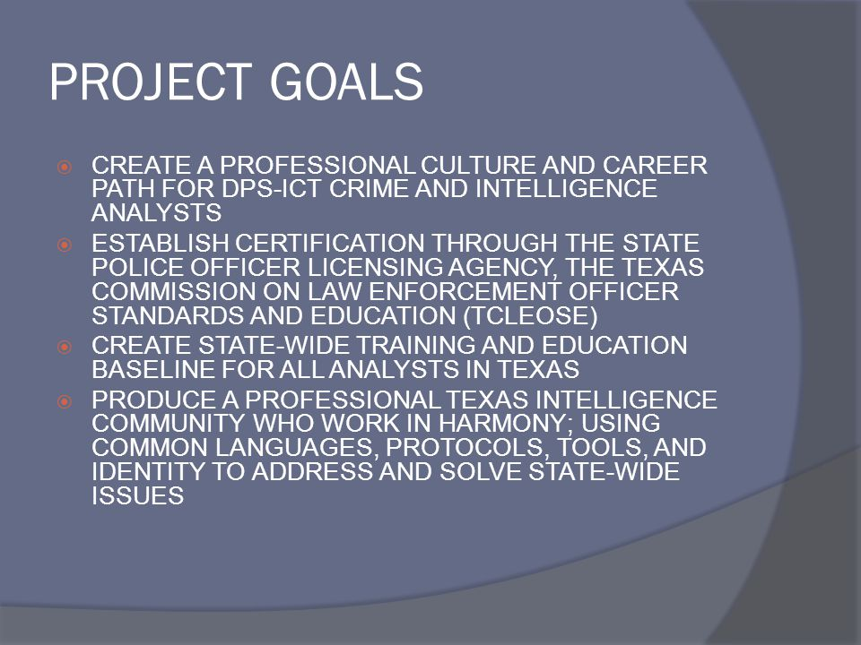 PROJECT GOALS CREATE A PROFESSIONAL CULTURE AND CAREER PATH FOR DPS-ICT CRIME AND INTELLIGENCE ANALYSTS.