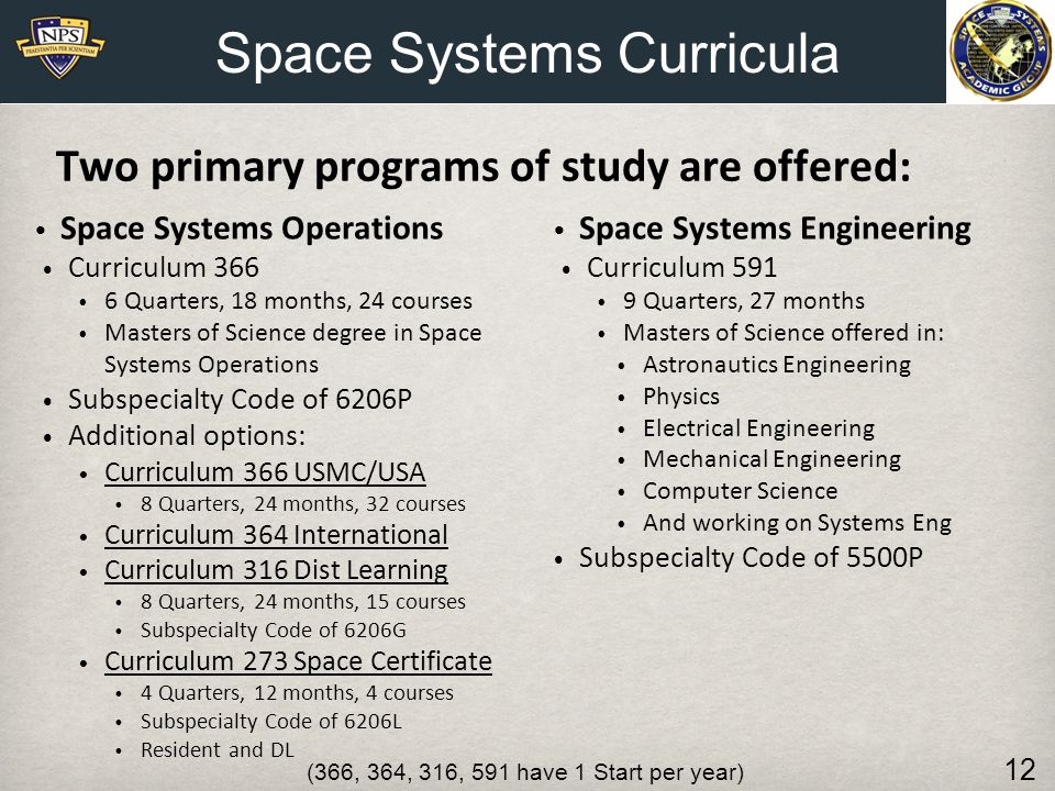 Space Systems Curricula