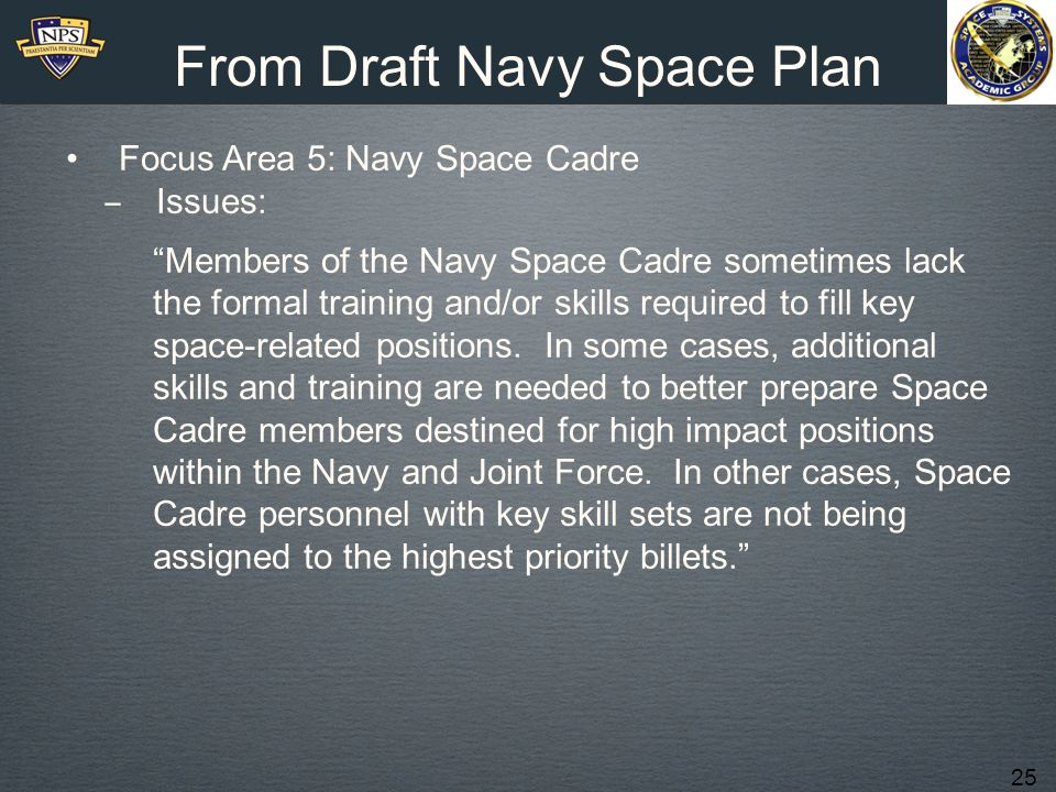 From Draft Navy Space Plan
