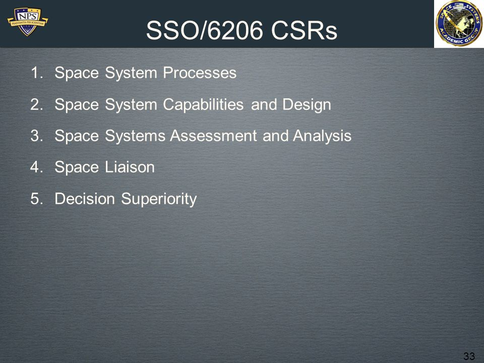 SSO/6206 CSRs Space System Processes