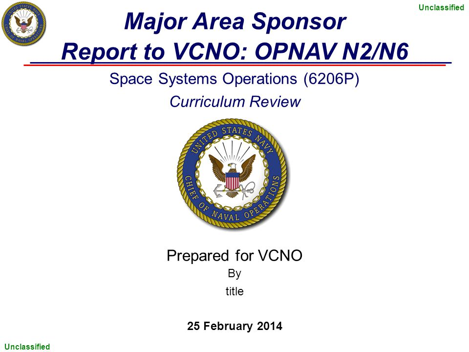 Report to VCNO: OPNAV N2/N6