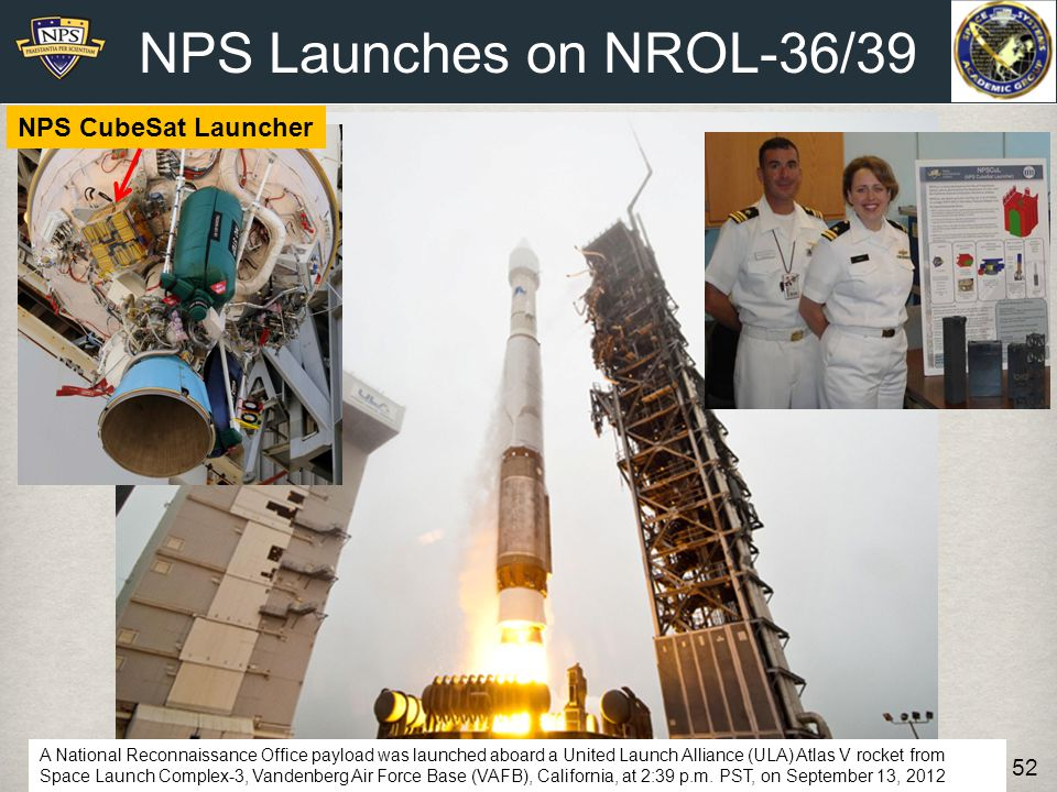 NPS Launches on NROL-36/39 NPS CubeSat Launcher