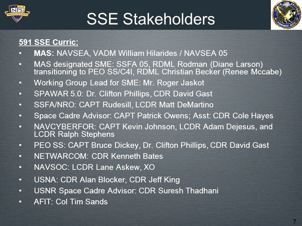 SSE Stakeholders 591 SSE Curric: