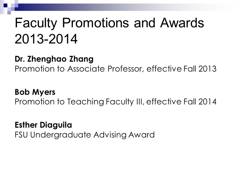Faculty Promotions and Awards 2013-2014