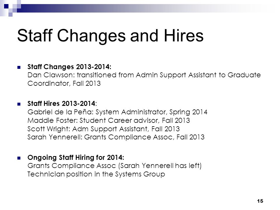 Staff Changes and Hires