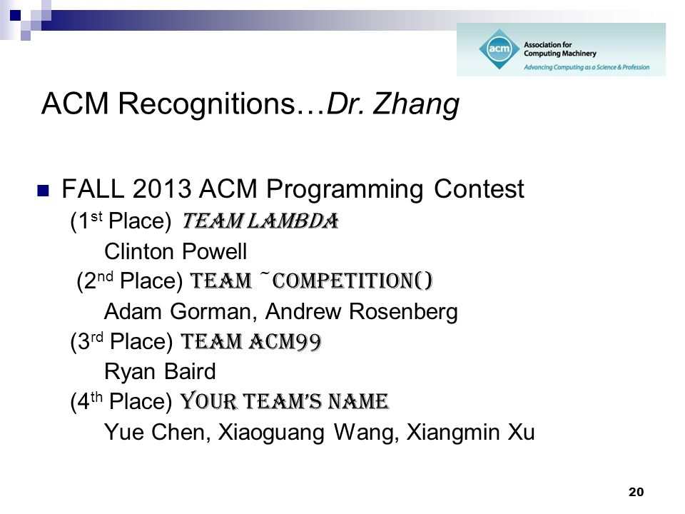 ACM Recognitions…Dr. Zhang