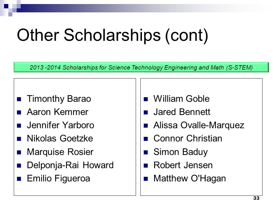 Other Scholarships (cont)