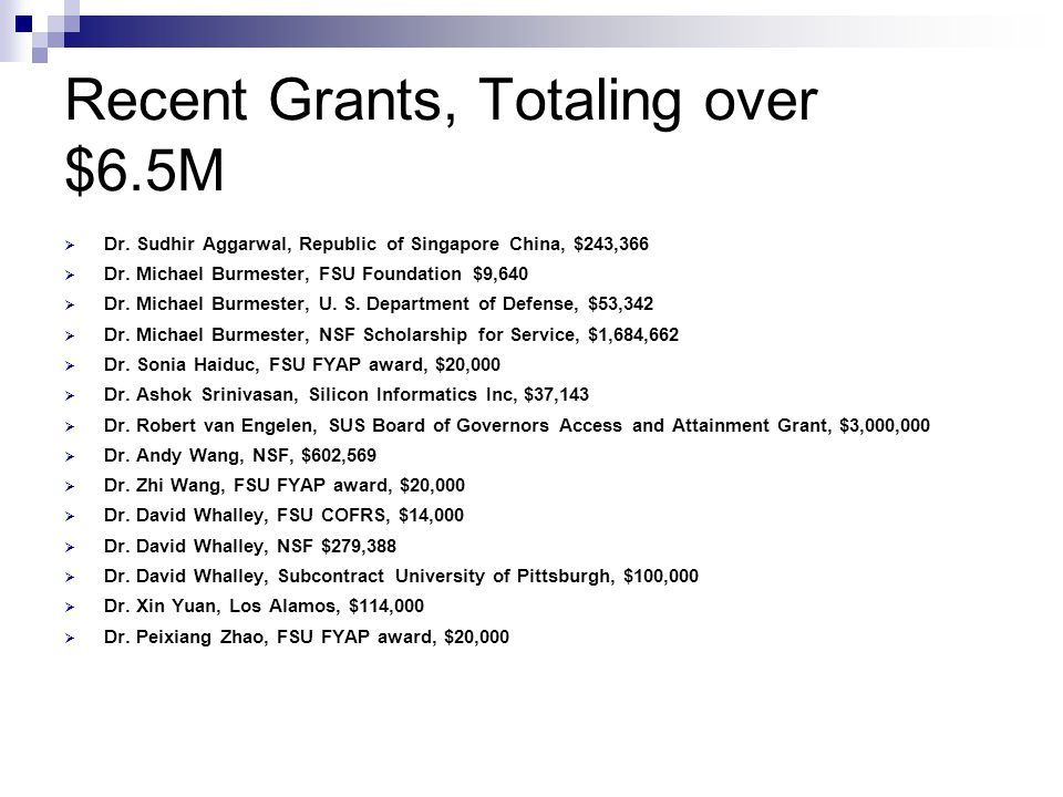Recent Grants, Totaling over $6.5M