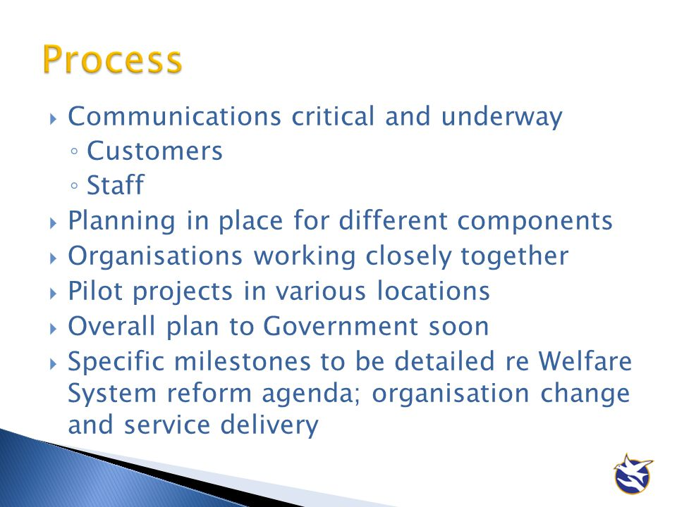 Process Communications critical and underway Customers Staff