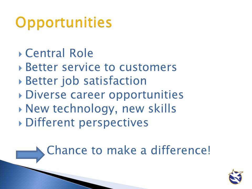 Opportunities Central Role Better service to customers