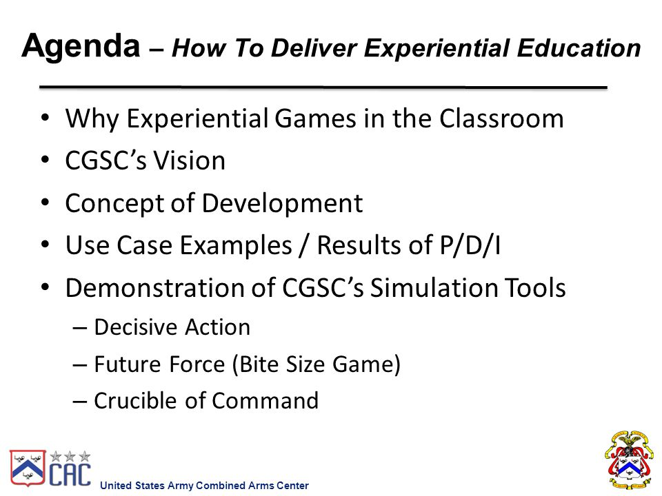 Agenda – How To Deliver Experiential Education