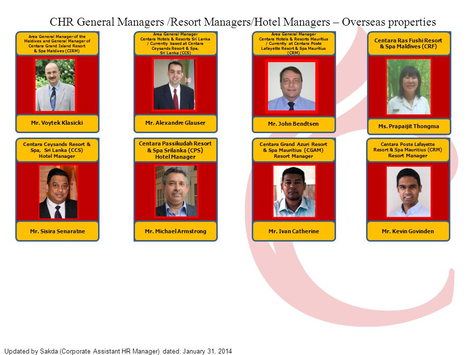 4 CHR General Managers /Resort Managers/Hotel Managers – Overseas properties. Area General Manager of the Maldives and General Manager of.