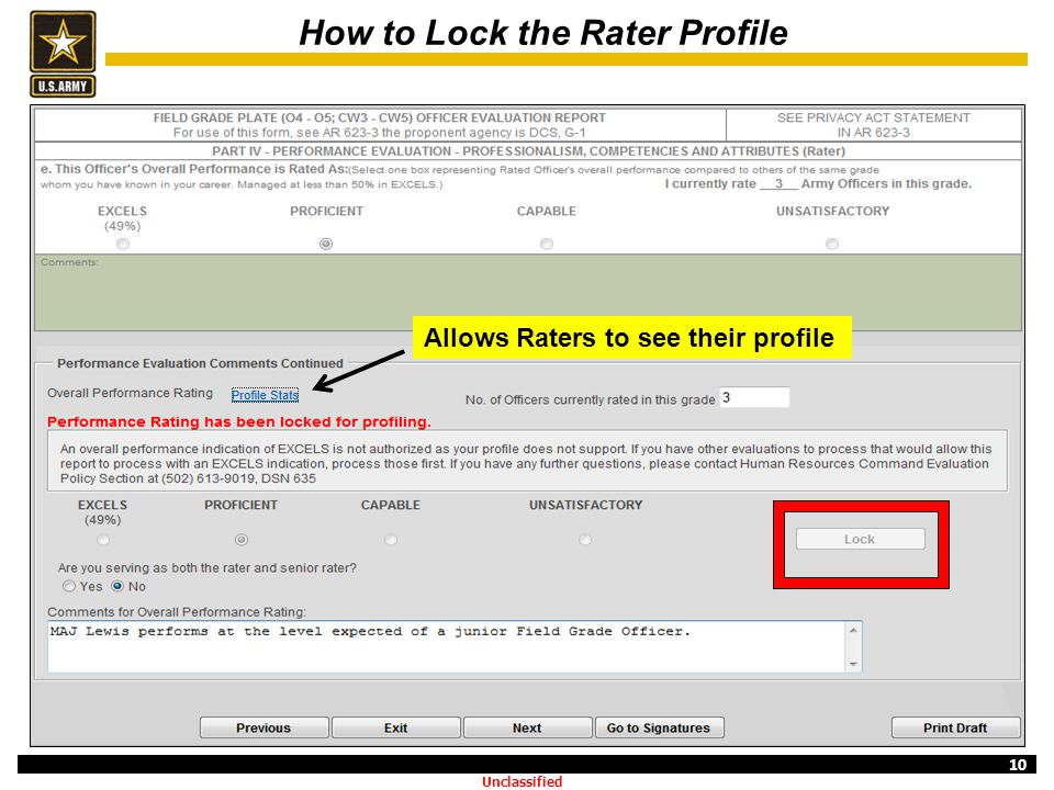How to Lock the Rater Profile