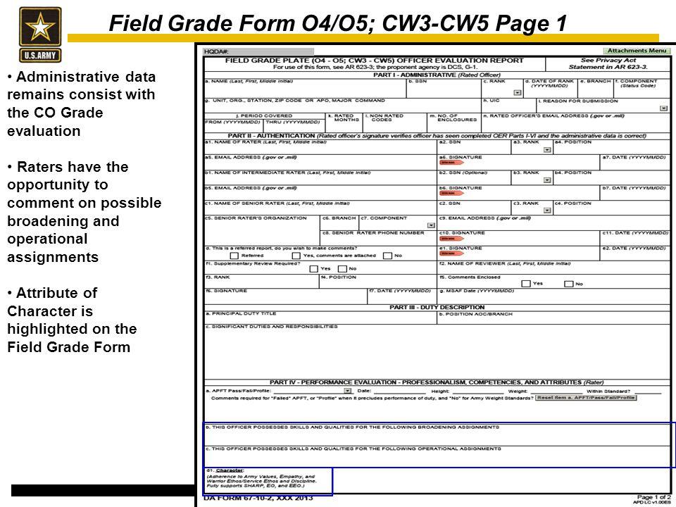 Field Grade Form O4/O5; CW3-CW5 Page 1