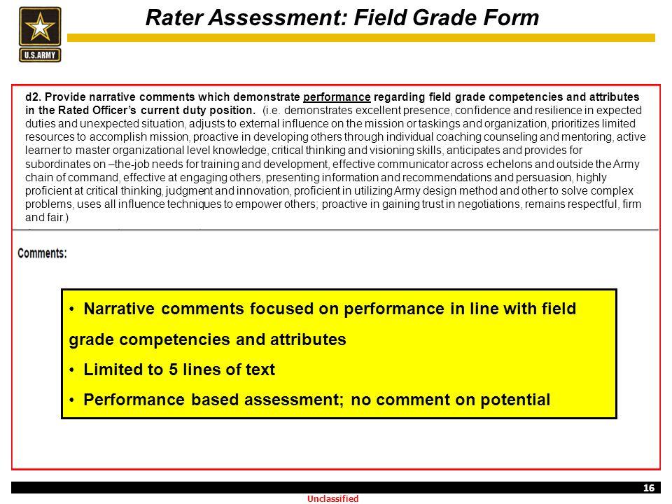 Rater Assessment: Field Grade Form