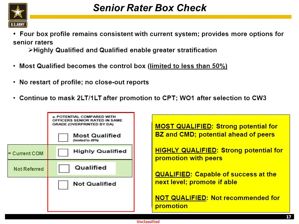 Senior Rater Box Check Four box profile remains consistent with current system; provides more options for senior raters.