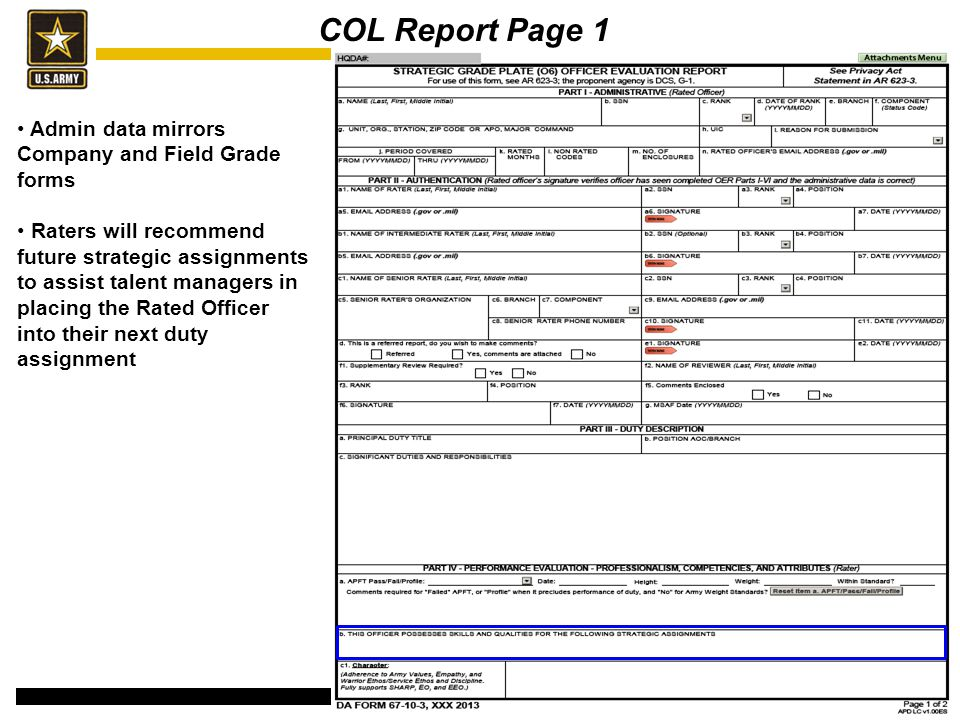 COL Report Page 1 Admin data mirrors Company and Field Grade forms