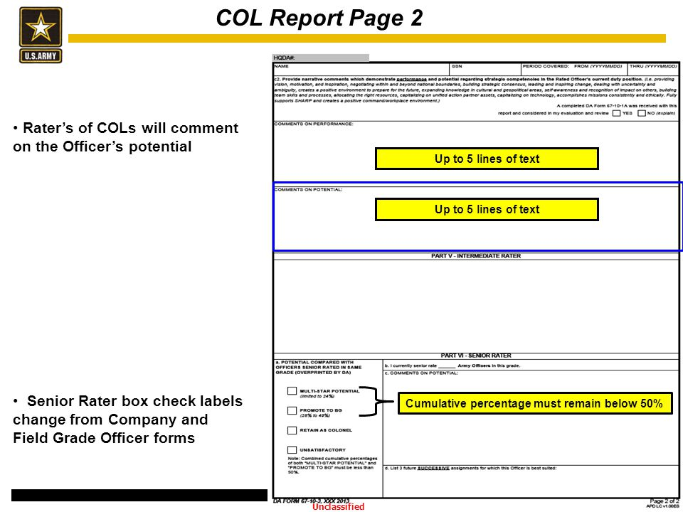 COL Report Page 2 Rater's of COLs will comment on the Officer's potential.