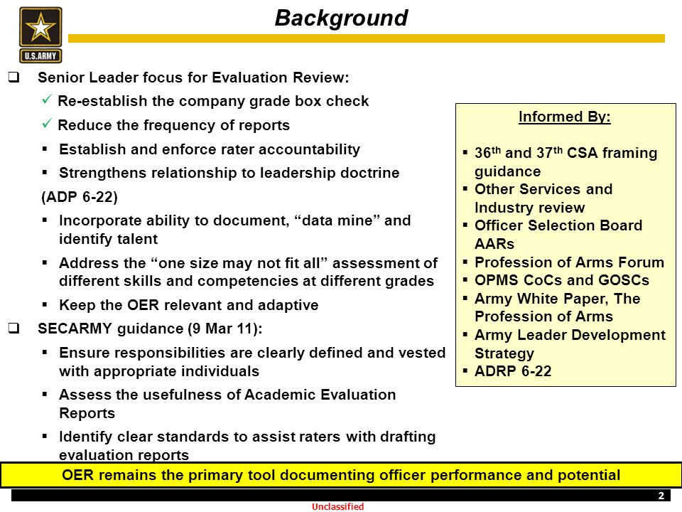 Background Senior Leader focus for Evaluation Review: