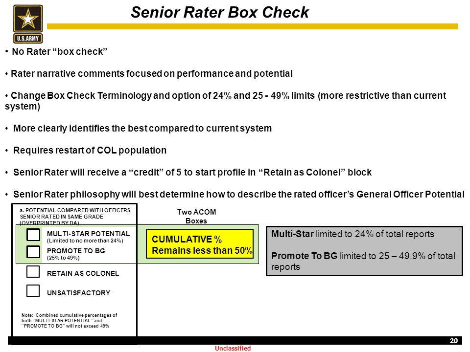 Senior Rater Box Check No Rater box check