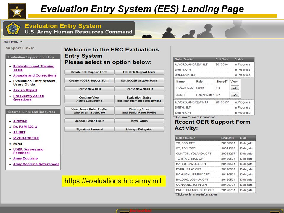 Evaluation Entry System (EES) Landing Page