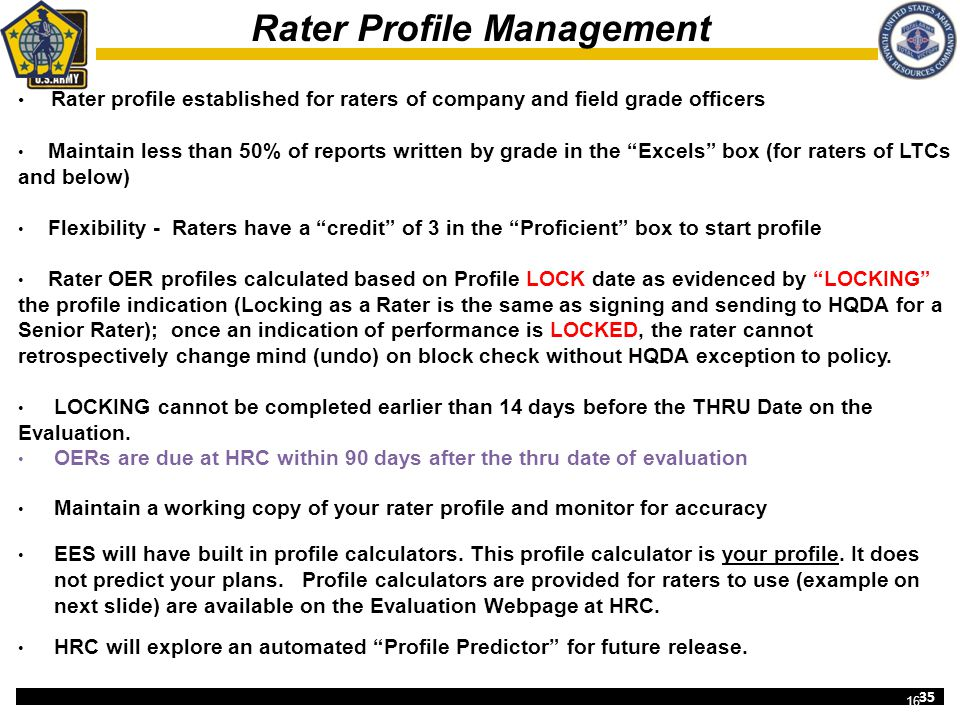 Rater Profile Management