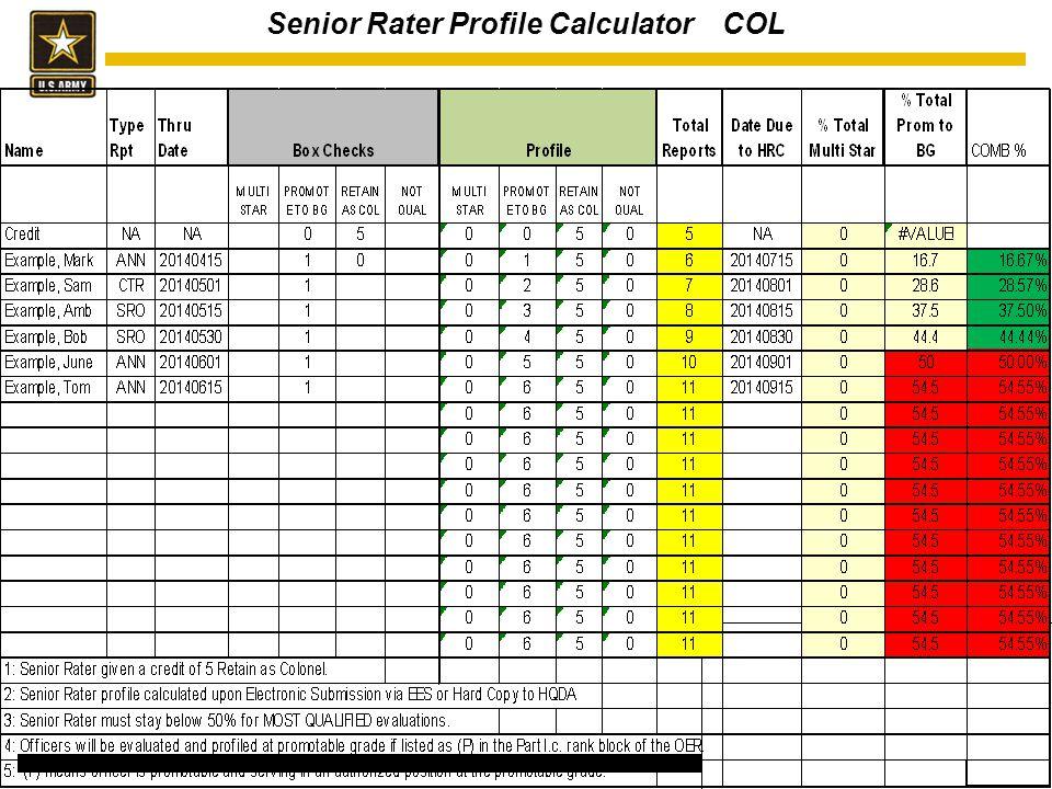 Senior Rater Profile Calculator COL