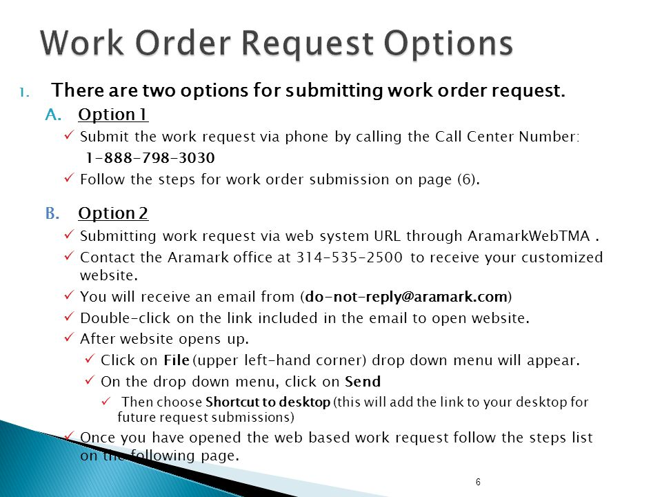 Work Order Request Options