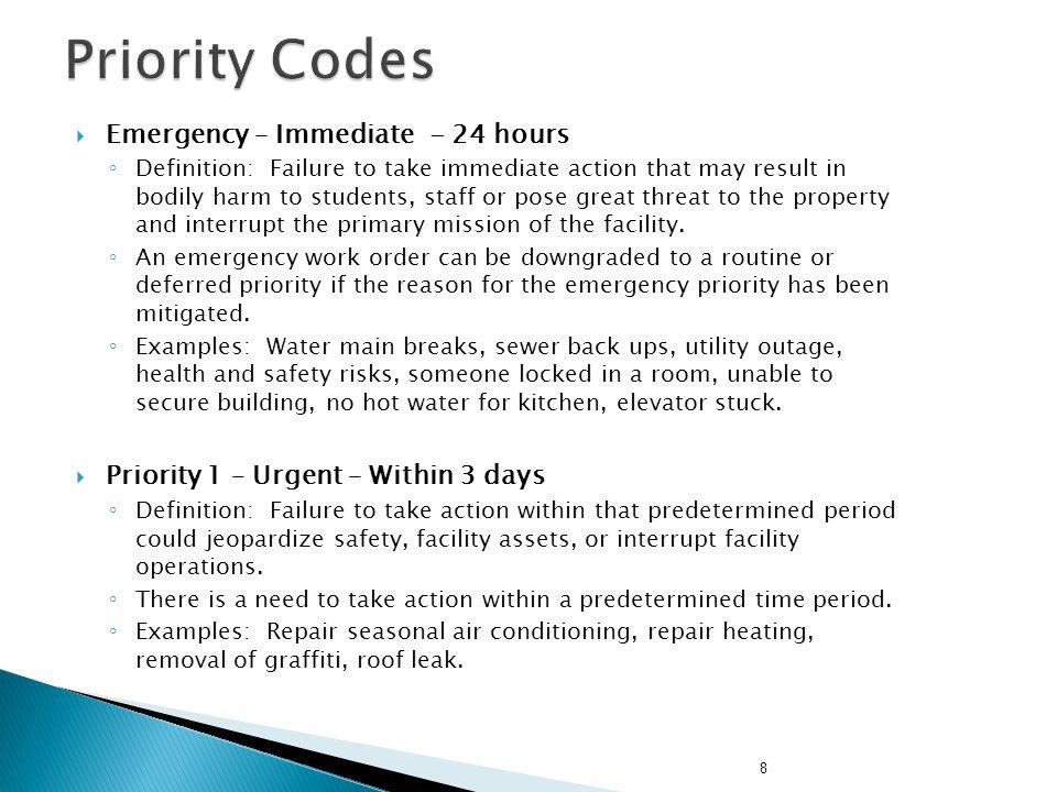 Priority Codes Emergency – Immediate - 24 hours