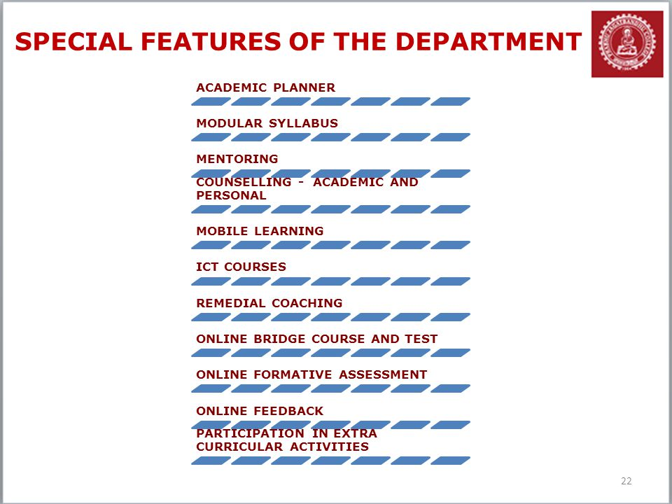 SPECIAL FEATURES OF THE DEPARTMENT