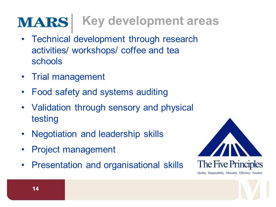 Key development areas Technical development through research activities/ workshops/ coffee and tea schools.