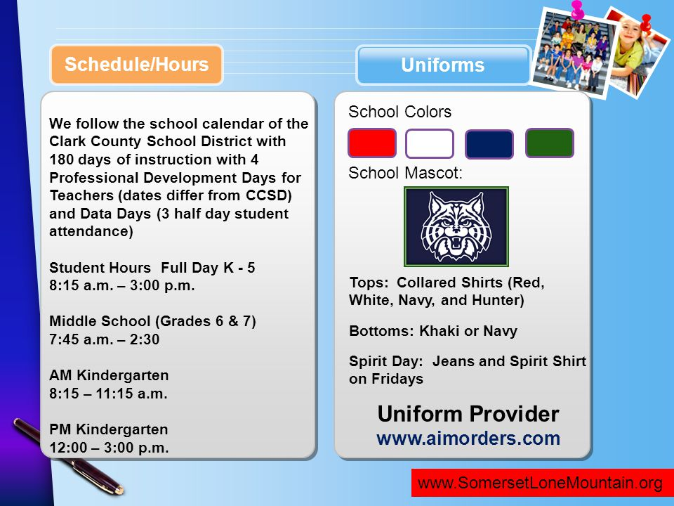 Uniform Provider Schedule/Hours Uniforms www.aimorders.com