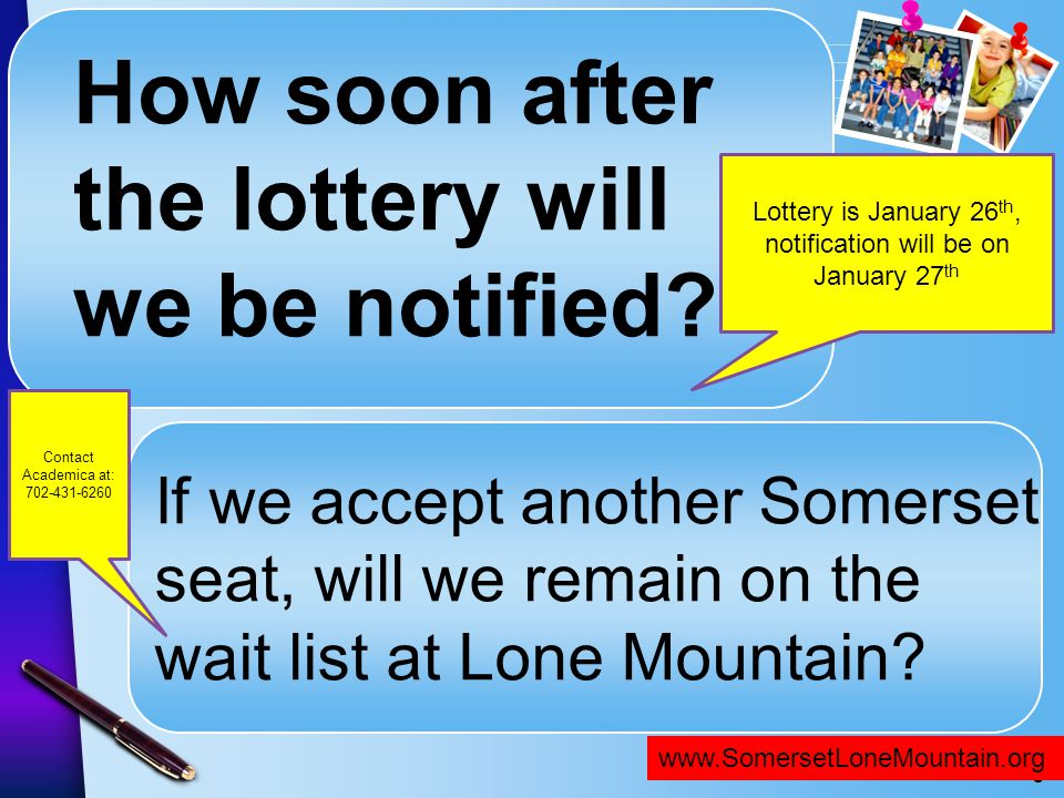 Lottery is January 26th, notification will be on January 27th