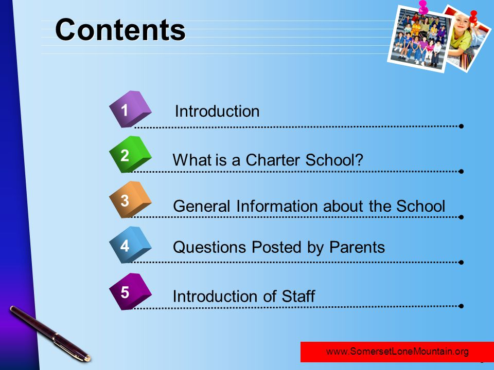Contents 1 Introduction 2 What is a Charter School 3