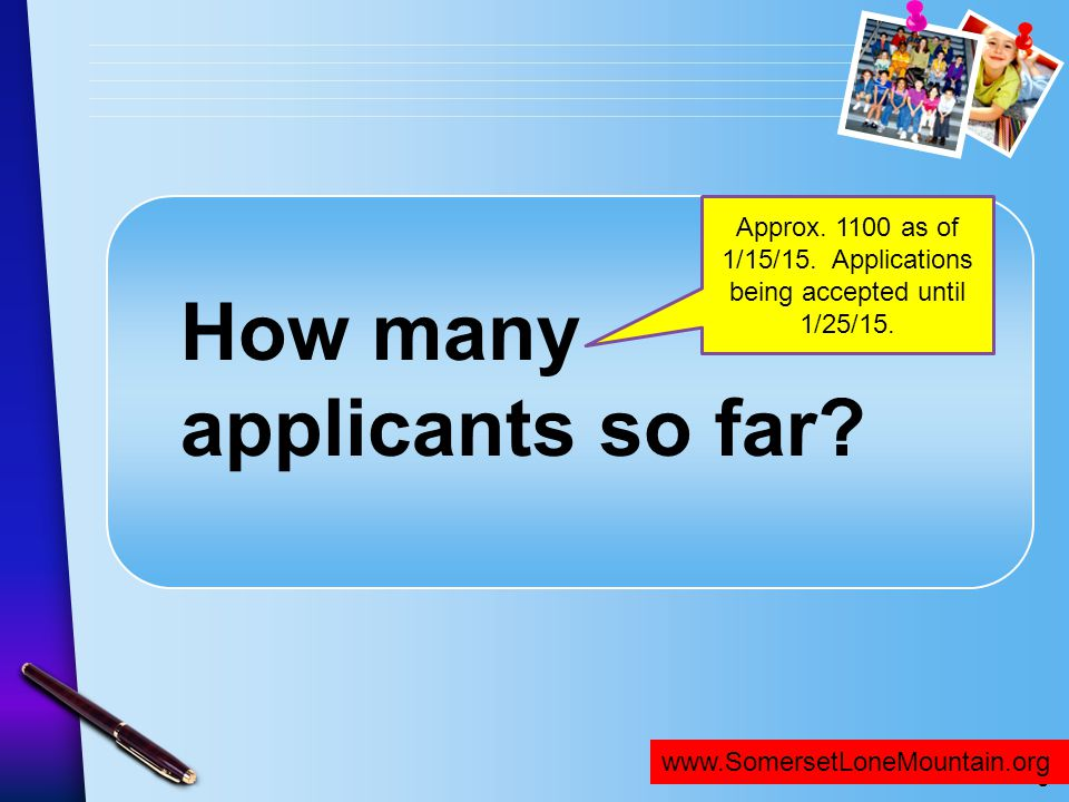 Approx. 1100 as of 1/15/15. Applications being accepted until 1/25/15.