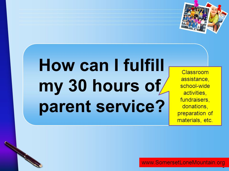 How can I fulfill my 30 hours of parent service
