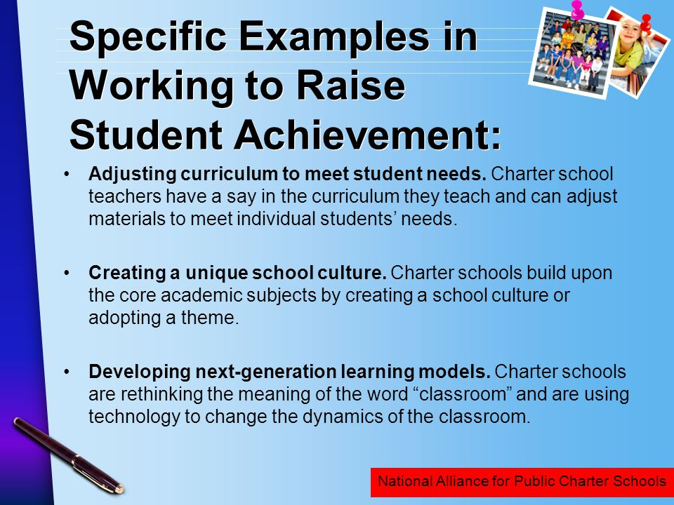 Specific Examples in Working to Raise Student Achievement: