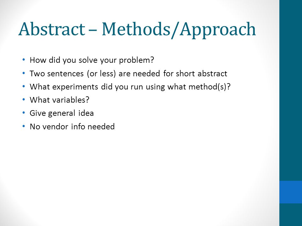 Abstract – Methods/Approach