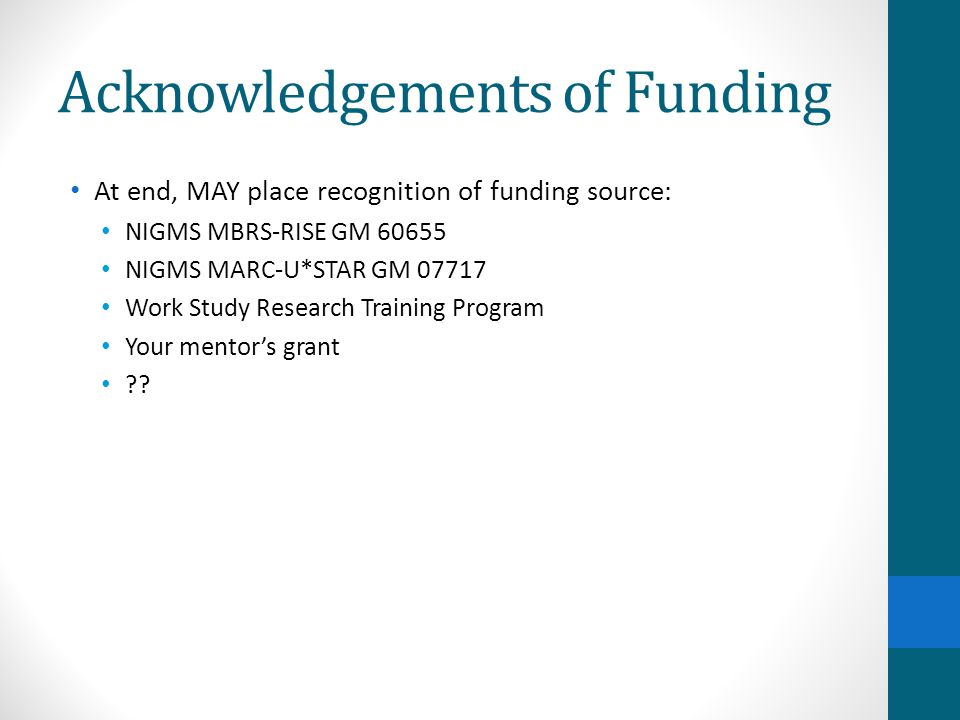 Acknowledgements of Funding