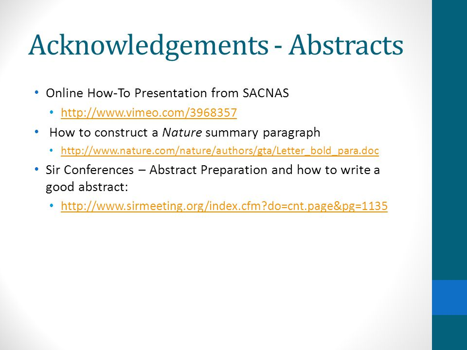 Acknowledgements - Abstracts