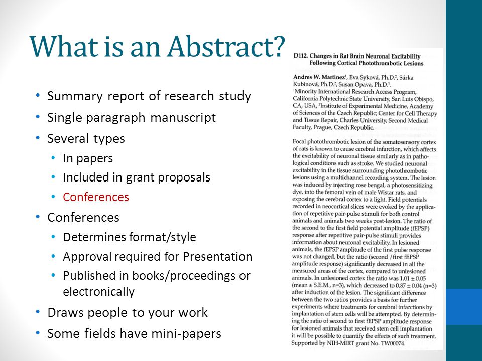 What is an Abstract Summary report of research study